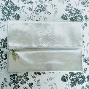 Victoria's Secret silver metallic zippered clutch
